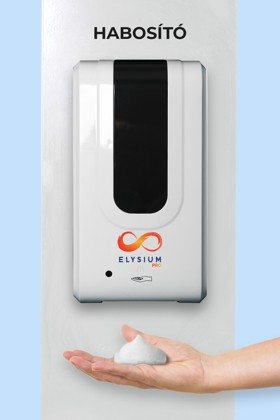 Elysium Pro professzionális, érintésmentes, 1200 ml-es adagoló - Habosító szappan - Fehér állvánnyal - Fehér