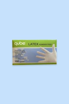 QUBE - Púdermentes latex kesztyű - 100 db - Fehér - M