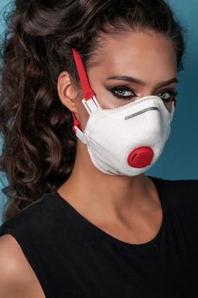 Perfetto FFP3 légzésvédő kemény kialakítású maszk - szelepes - 5 db - fehér