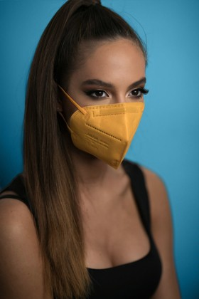 Jiada FFP2 CE 0370 szelep nélküli sárga maszk - 10 db - sárga