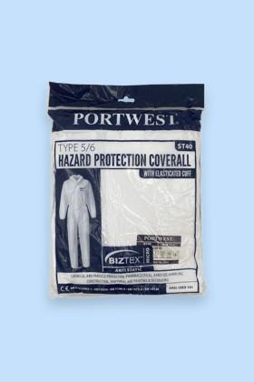 Portwest ST40 Biztex kapucnis védőoverál Type 5/6 - Overál - Fehér - L