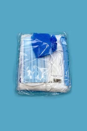 Alap látogatói csomag - köpeny, hajháló, cipővédő, maszk - OneSize