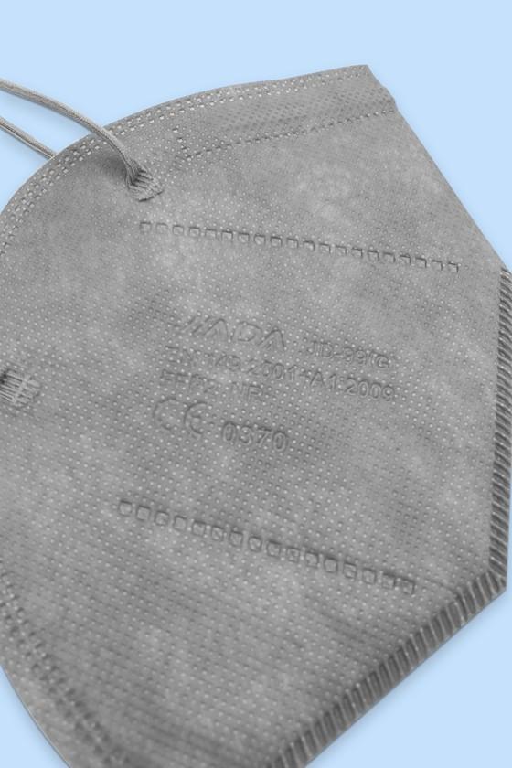 Jiada FFP2 CE 0370 - FFP2 maszk - 10 db - Szürke - Szelep nélküli