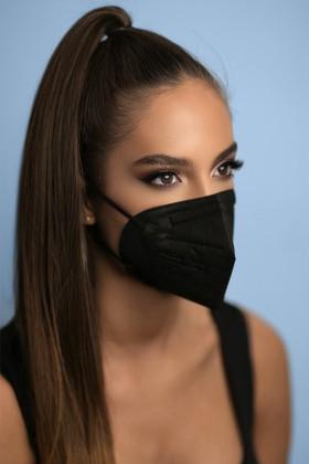 Jiada FFP2 CE 0370 szelep nélküli fekete maszk - 25 db - fekete