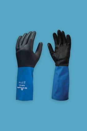 SHOWA CHM latexre mártott neoprén vegyszerálló védőkesztyű - Latexre mártott - Kék - XL
