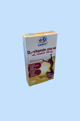 1×1 Vitamin D3-vitamin 2000 NE + K2-vitamin 120 μg BioPerine®-nel filmtabletta - Kapszula - 1 doboz